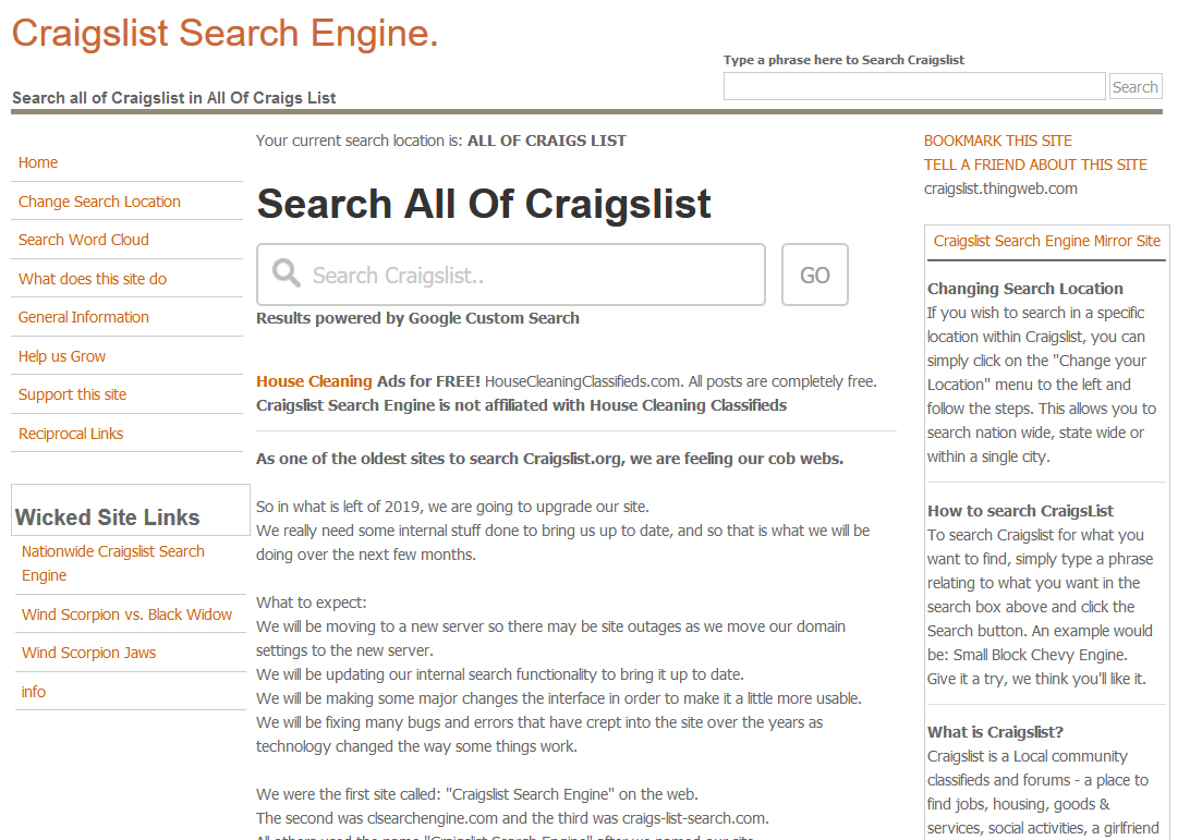 Image of craigslist search engine 2007 - 2019