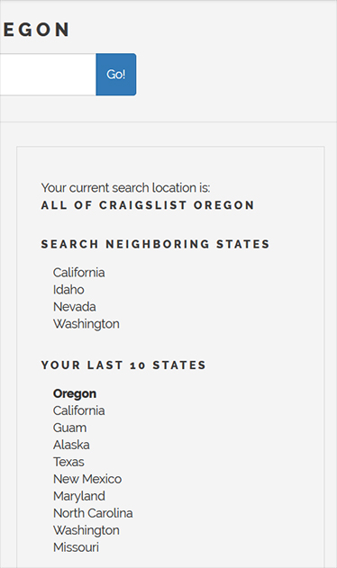 Image of craigslist searchengine 2007 - 2019
